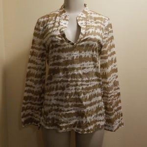 Tori Burch Tan/White Splotchy Print Cotton Tunic-6